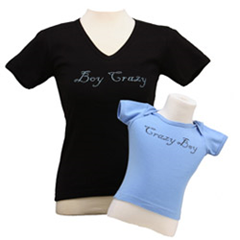 """boy crazy""/""crazy boy"" mommy and me set"