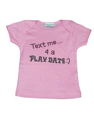 text me 4 a playdate baby onesie